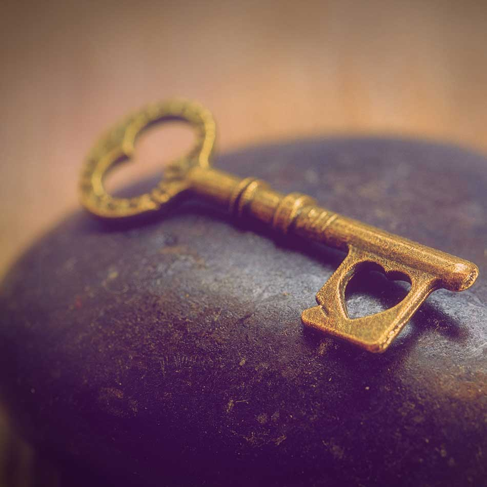 celebrant coming of age - key with heart